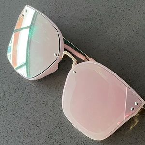 Quay Style Pink Mirror Square Large Sunglasses